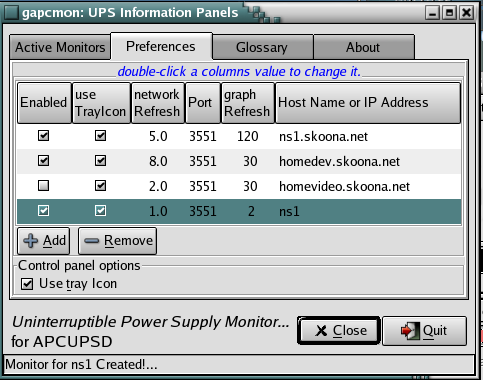 GapcMon, a linux GUI monitor for APCUPSD